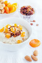 Oatmeal with dried fruit and nuts Royalty Free Stock Images