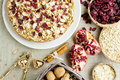 Oatmeal pastry with cinnamon almonds cranberries and pomegranate Stock Photography