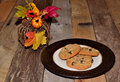 Oatmeal raisin cookies with autumn decor Royalty Free Stock Photo