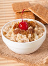 Oatmeal with raisins and cherries Royalty Free Stock Images