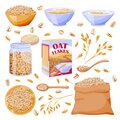 Oats cereal grain in sack. Oatmeal porridge in glass jar and bowl. Vector illustration. Breakfast food design elements Royalty Free Stock Photo