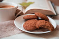Oats cookies and coffee Royalty Free Stock Photo