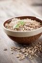 Oats raw in ceramic bowl Royalty Free Stock Photos
