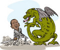 Obama fighting a dragon Stock Image
