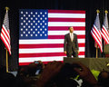Obama in Front of Flag at the Rally Stock Image