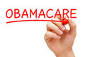 Obamacare red marker hand writing with on transparent wipe board Stock Photos