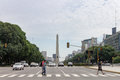 Obelisk and 9 de Julio Avenue in Buenos Aires Stock Photography