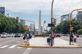 Obelisk en 9 DE Julio Avenue in Buenos aires Royalty-vrije Stock Foto