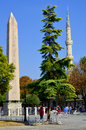 Obelisk of theodosius istanbul turkey september egyptian near blue mosque sultanahmet camii in the ancient hippodrome on Royalty Free Stock Images