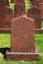 Obelisks of red granite at the military memorial Royalty Free Stock Photo