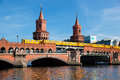 The oberbaum bridge in berlin germany german oberbaumbrucke and river spree u bahn going through Royalty Free Stock Photo