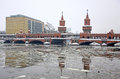Oberbaumbrucke bridge across Spree river in Berlin Royalty Free Stock Photo