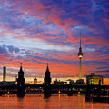 Oberbaumbruecke bridge berlin in kreuzberg at sunset Royalty Free Stock Photos