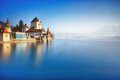 Oberhofen castle on the lake thun switzerland Royalty Free Stock Photo