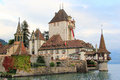 Oberhofen castle in thun historical monument at lake switzerland Stock Photo