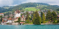 Oberhofen am Thunersee in a cloudy day Stock Image
