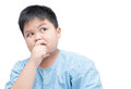Obese fat asian boy thinking isolated on white background Royalty Free Stock Photo