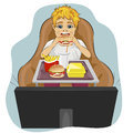 Obese fat boy sits in chair eating hamburger and watching tv