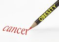 Obesity cancer idea of leads to using a pencil analogy Stock Photo