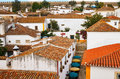 Obidos traditionally painted houses in portugal Royalty Free Stock Image