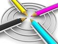 Obiettivo dalle matite. CMYK Fotografia Stock