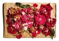 Pile of withered red roses is placed on a wooden board - an artistic decadence look Royalty Free Stock Photo