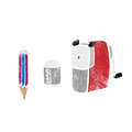 Object stationery pencil sharpener eraser stamp Royalty Free Stock Photo