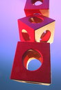 Object of wooden cubes an on colorful light Stock Photos