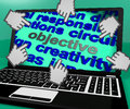 Objective laptop screen means purpose goal and target meaning Royalty Free Stock Photography
