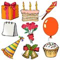 Objects for celebration hand drawn cartoon sketch illustration of Stock Photography