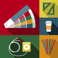 Objects designer work set of different Royalty Free Stock Photos