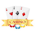Objects for gambling playing cards and casino chips isolated on white background items poker Royalty Free Stock Photos