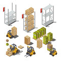 objects with an industrial warehouse