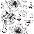 Objects on italian food theme: pizza, pasta, tomato, Royalty Free Stock Photo