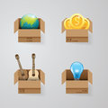 Objects in open box vector set design concept.illustration Royalty Free Stock Photo