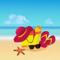 Objects set with beach bag, slippers, sun hat and sunglasses on tropical beach. Summer background.