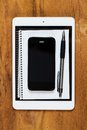 Objects on the table electronic technology Royalty Free Stock Photos