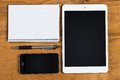 Objects on the table electronic technology Royalty Free Stock Image