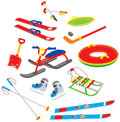 Objects for winter leisure skis sled skates and other sport and Royalty Free Stock Images