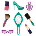 Objects woman set of several of female beauty Royalty Free Stock Images