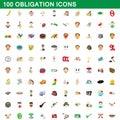 100 obligation icons set, cartoon style