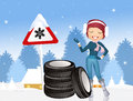 Obligation to snow tires illustration of Royalty Free Stock Photos
