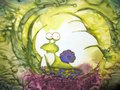 Obraz żaba w zielonym lesie. jedwab, batik, ręka rysunek. Obrazy Royalty Free