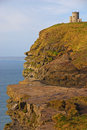 Obriens tower on top of cliffs of moher multi level with blue sky Stock Photography