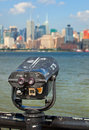 Observation deck with binoculars view of new york city manhattan buildings Stock Image