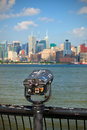 Observation deck with binoculars view of new york city manhattan buildings Stock Images