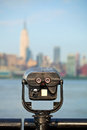 Observation deck with binoculars view of new york city manhattan buildings Stock Photo