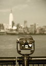 Observation deck with binoculars view of new york city manhattan buildings retro vintage black and white style Stock Photos