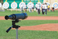 Observe telescope positioned to the targets after the archery Royalty Free Stock Images