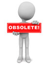 Obsolete concept word on a banner plate held up by a little man Royalty Free Stock Photos